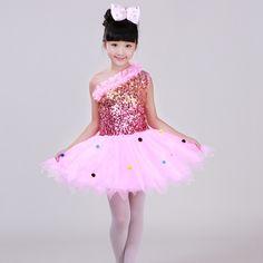 Children's Sequin Costume Girls Paillette Yarn Tutu Skirt Princess Dress   Modern Dance Performance Ballet Ballroom Dance Dress