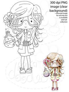 Girl Science/Maths/Teacher/Professor/Geek/Student/Chemisty Digital Stamp - Printable Crafting Digital Stamp Craft Scrapbooking Download - Polkadoodles Ltd