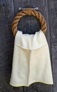 nautical rope towel holder - perfect for the beach house bathroom! Nautical Bathrooms, Beach Bathrooms, Cottage Bathrooms, Nautical Rope, Nautical Theme, Coastal Style, Coastal Decor, Nantucket Style, Deco Marine