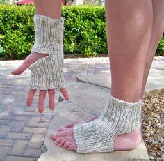 Knitted Yoga Socks in Oatmeal / Arm Warmers $65