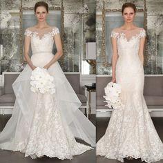 vintage wedding dress,lace long wedding dress,wedding dress with overskirt,2016 mermaid wedding dress,Two in one wedding dress