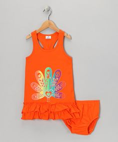 Take a look at this Orange Peacock Dress & Diaper Cover - Infant, Toddler & Girls by Gioberti on #zulily today!
