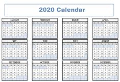 Print Free Yearly Calendar 2020 With Holidays Printable Yearly Calendar, Free Printable Calendar Templates, Calendar Layout, Monthly Calendar Template, Calendar Pages, Calendar 2020, Pocket Calendar, Printables