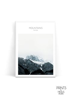Mountain Print Nature Blue Photography by PrintsMiuusStudio