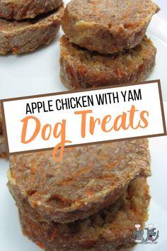 apple chicken with yam Doggie Treats, Homemade Dog Treats, Healthy Dog Treats, Dog Treat Recipes, Fruit Recipes, Snack Recipes, Snacks, Apple Chicken, Honey And Cinnamon