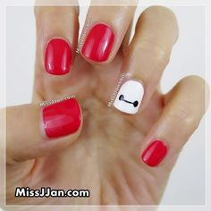 Disney Big Hero 6 Baymax Inspired Nail Art