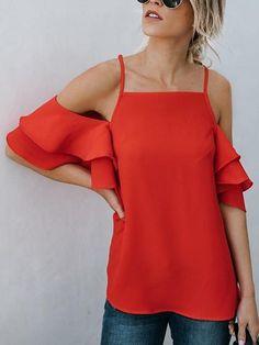 ae4c5da5486cf5 Red Chiffon Cold Shoulder Ruffle Sleeve Chic Women Cami Blouse. MYNYstyle