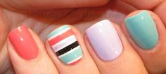 Mint & Coral Combo #manicure #nailart