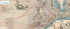 Via Maps Mania - Trois cartes sur les câbles sous-marins qui connectent les continents et permettent les communications.  http://googlemapsmania.blogspot.fr/2016/01/submarine-cable-maps.html