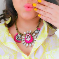 Image of Only 1 Left! Fuchsia Statement Necklace, Hot Pink Crystal Statement Necklace from Viva La Jewels  from vivalajewels.com enter code robinhills at checkout so they know who referred you!