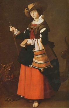 St Margaret (c.1631).Francisco deZurbarán(Spanish, 1598-1664).Oil on canvas.National Gallery, London. Zurbarán has portrayed her with straw hat and staff as a Spanish shepherdess. Behind her is the dragon which she is said to have overcome with the sign of the cross. Inactive, with the Bible in her hand and a shepherd's bag over her arm, she gazes with a sweetly childish face. This painting does not tell the turbulent episodes of her life, but shows a saintly woman revered ...