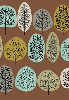 This is a limited edition giclee print of stylised trees in shades of brown, olive, grey and turquoise. All my images start life as something hand