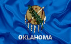 Download wallpapers Oklahoma State Flag, flags of States, flag State of Oklahoma, USA, state Oklahoma, blue silk flag, Oklahoma coat of arms