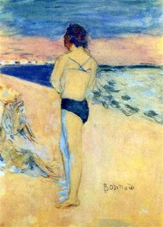 Women on the Beach by Pierre Bonnard, gouache