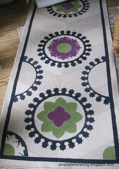 Painted, Stenciled Rug in progress. Be sure to see the final one at the other pin. at Simple Details