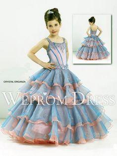Ball Gown Organza Light Sky Blue|Orange Sleeveless Natural Petite Types Flower Girl Dresses -wepromdress.com