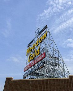 A fine art photo of the Meadow Gold Sign sideview in Tulsa, Oklahoma, by Martin Garfinkel.