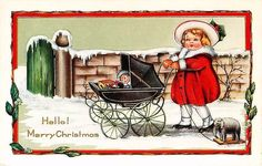 Whitney Christmas Card 1915 Girl Baby Buggy Toys Collectible Vintage Postcard #Christmas