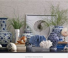I'm going to try to recreate this vignette with my own collections.                   Beach house vignette