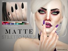 Pralinesims' Matte Stiletto Nails N08