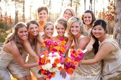 Gold Bridesmaid Dresses with Vibrant Bouquets