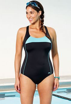 939e5eda2b9 Chlorine Resistant - Aquabelle Xtra Life Lycra Mint Border X-Back Swimsuit  Chlorine Resistant Swimwear