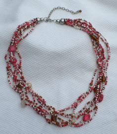 Pink Coral with amber, brown and white - $18.00