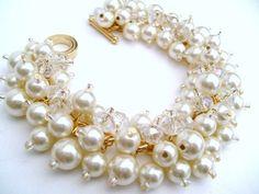 Set van 4 armbanden, bruids juwelen, huwelijk, parel bruidsmeisje, Cluster Bracelet, parel armband, ivoor parel sieraden - Bliss - verguld