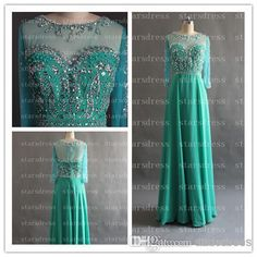 Wholesale cheap high low wedding dress online, 2014 spring summer - Find best wholesale -Green formal dress With 3/4 long sheath/Column bateau floor-length backless prom dresses With sequins and beadsen at discount prices from Chinese evening dresses supplier on DHgate.com.