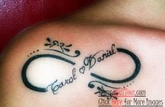 Front Shoulder Infinity Tattoo with Kids Name Image