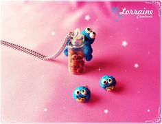 "Set necklace and rings ""cookie monster"" $150"