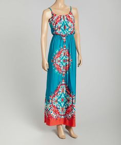 Another great find on #zulily! Turquoise Scarf-Print Blouson Maxi Dress by STILLETTO'S #zulilyfinds