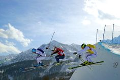 Silver medallist Arnaud Bovolenta of France (blue top), Brady Leman (red top) of Canada and bronze medallist Jonathan Midol (yellow top) of France compete during the Freestyle Skiing Men's Ski Cross Big Final (c) Getty Images Winter Olympic Games, Winter Olympics, Olympia, Freestyle Skiing, Mens Skis, Yellow Top, Canada, France, Red