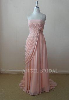 Light Pink  Handmade Flowers Drape  Long bridesmaid by AngelBridal, $159.00