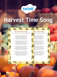 🎵 A harvest song, ideal for young children to accompany activities and stories based on the topic of harvest. Sung to the familiar tune of 'Here We Go Round the Mulberry Bush', it also has opportunities for children to add their own verses on the end! Songs For Toddlers, Rhymes For Kids, Kids Songs, Harvest Poems, Harvest Time, Apple Harvest, Circle Time Activities, Autumn Activities, Preschool Activities