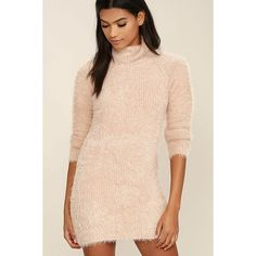 Mink Pink Soft Serve Blush Pink Sweater Dress ($109) ❤ liked on Polyvore featuring dresses, pink, turtle neck sweater dress, pink dress, long-sleeve sweater dresses, pink long sleeve dress and knit turtleneck