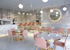 Studio Adot designed the gorgeous Cue Qatar Cafe in Pearl Qatar, Doha. Wrapped in our Inverted Spaces collection in a custom color way, the cafe feels completely other worldly. Bakery Decor, Bakery Interior, Restaurant Interior Design, Shop Interior Design, Pastry Shop Interior, Cake Shop Design, Coffee Shop Design, Cafe Design, Store Design
