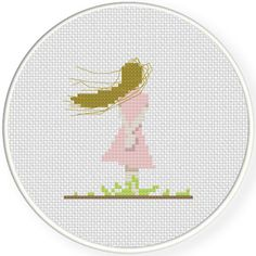 FREE for August 10th 2016 only - Girl Standing Back Cross Stitch Pattern