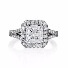 4 Ct Princess Cut D/Si1 Diamond Halo Solitaire Engagement Ring 14K White Gold