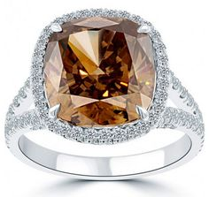 A unique fancy colored #brown #diamond #engagement #ring made in platinum. http://www.jangmijewelry.com/