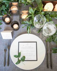 A Modern, Black-Tie Wedding in Washington, D.C.   Martha Stewart Weddings - Paperzest created the marble-themed menus, which rested on top of white dinner plates that were decorated with a small sprig of greenery.