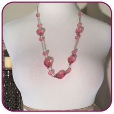 ⚡️FLASH SALE ⚡️Pink Bead Necklace Pink beads on silver chain Boutique Jewelry Necklaces
