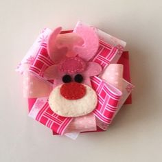 Christmas/Holiday Outfit Pink Rudolph Reindeer ribbon bow w/felt embellishment-Stocking Stuffer-photo prop-Picture-girl-toddler-hairbow-clip by CutiePieParade on Etsy