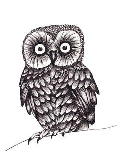 Baby owl drawing-print of original ink illustration. $20,00, via Etsy.