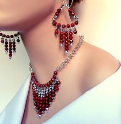 Red and silver byzantine chainmaille jewelry set  by NezDesigns, $45.00