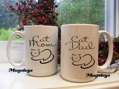 Cat Mugs | 15 oz mugs | Cat owner gifts | Tea Mug | Cat Mom and Cat Dad Mug Set | Parent mugs | Gifts for Couples | pet owner present by Mugsleys on Etsy https://www.etsy.com/listing/218893903/cat-mugs-15-oz-mugs-cat-owner-gifts-tea