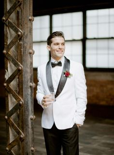 White tux: http://www.stylemepretty.com/little-black-book-blog/2015/03/13/fresh-romantic-industrial-wedding-inspiration/   Photography: Rebecca Yale - http://rebeccayaleportraits.com/