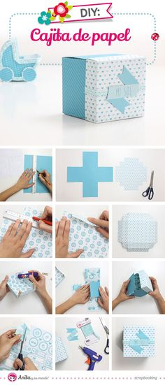 ideas baby shower manualidades paso a paso Diy Paper, Paper Crafts, Fruit Box, Shower Bebe, Baby Shawer, How To Make Box, Origami Box, Exploding Boxes, Diy Box