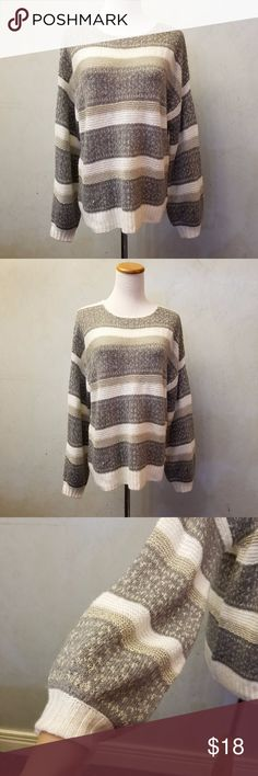 Stipped sweater gold sparkle kniting striped knit sweater  with a gold sparkle thread has a little pull shown in pic6 Mossimo Supply Co. Sweaters Crew & Scoop Necks