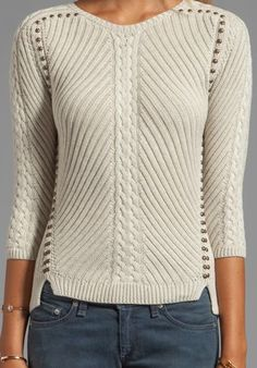 AUTUMN CASHMERE Studded Rib Cable Crew Sweater in Hemp - Sweaters